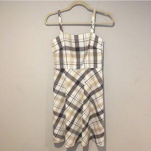 Ann Taylor Plaid Dress Size 0 Petite Yellow & Gold